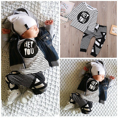 Newborn Infant Baby Girls Boys Clothes T-shirt + Long Pants Outfits Sets 0-2 T