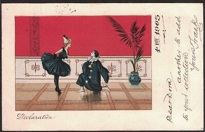 "Early Postcard, Undivided Back, Pierrot's, ""declaration""."