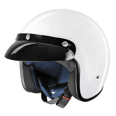 Vintage Retro 3/4 Open Face Motorcycle Helmet DOT Approved Scooter Cafe Racer XL