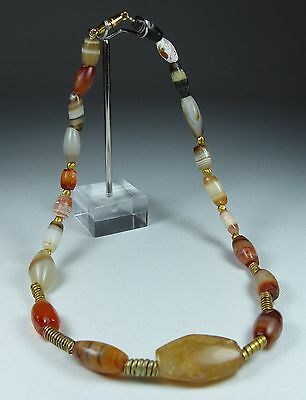 Ancient Agate And Gold Bead Necklace West Asia 1000Bc