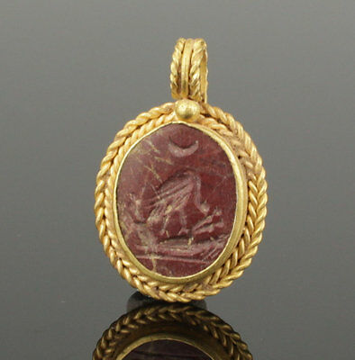 Beautiful Ancient Roman Gold Intaglio Pendant 2Nd Century Ad