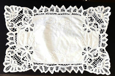 Vintage White Battenburg Lace Embroidered Doily