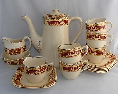 Vintage Wood & Sons Ivory Ware Deco Coffee Set for 6: Pot, Duos, Creamer & Sugar