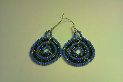 African traditional Maasai / Masai hand made earrings blue and black