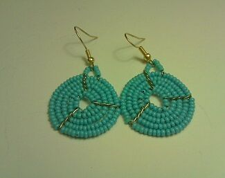 African traditional Maasai / Masai hand made earrings pastel blue