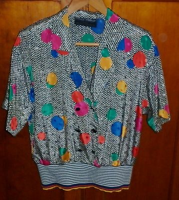80s VINTAGE WOMENS 14 BRIGHT MEMPHIS PRINT TOP AND SKIRT IN EXCELLENT CONDITION