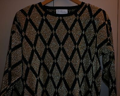 VINTAGE 1980s GOLD LUREX AND BLACK FUNKY KNIT JUMPER EXCELLENT CONDITION