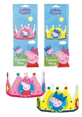x10 Peppa Pig & George Cardboard Hat Crowns ~ Birthday Party Favours Dress up