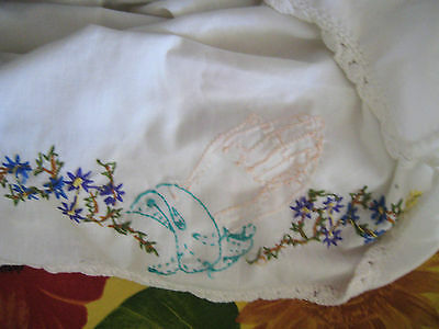 Beautiful hand embroidered Jesus Praying Hands with flowers antique pillowcase