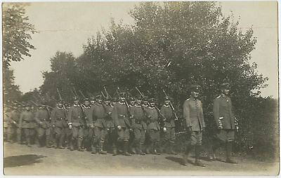 German WW1 Photograph, Officer, NCO, Soldiers, On The March, 1915 (TH1)