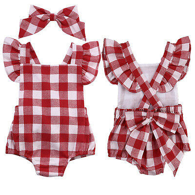 Newborn Baby Girl Cotton Bowknot Clothes Bodysuit Romper Jumpsuit Outfit Set New