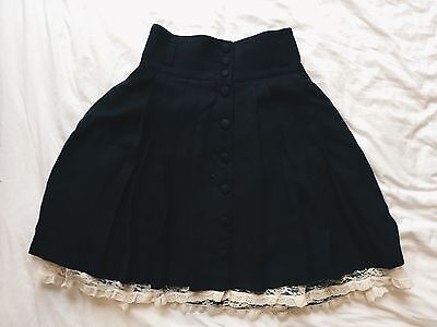 Vintage High Waisted A-line Button Down Black Skirt With Lace Underskirt