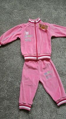 Girls 18mths velour tracksuit bottoms and jacket set pink  NEW