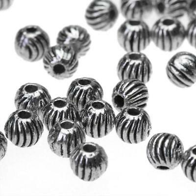 100pcs Tibetan Silver Watermelon round Alloy metal spacer Beads 4mm hole 1mm