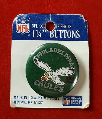 Philadelphia Eagles NFL Football Button Pinback Badge, collectors Series 1 1/4""