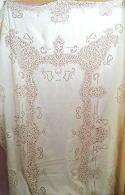 "Vintage Antique Tape Lace & Open Work Banquet Tablecloth 12"" Feet Ss474"