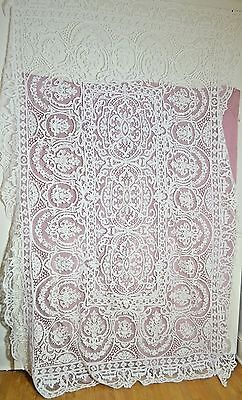 Sensational Vintage Needlelace White Banquet Tablecloth Handmade Ss410