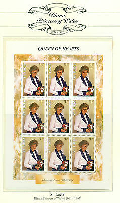 PRINCESS DIANA - ST LUCIA - NEVIS - MNH Miniature Sheets and First Day Covers