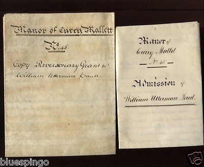 Curry Mallet Somerset 2 Manorial Vellum Documents 1818 1847