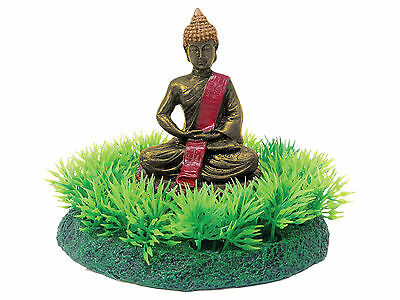 Buddha Statue on Grass Aquarium Fish Tank Ornament Decoration
