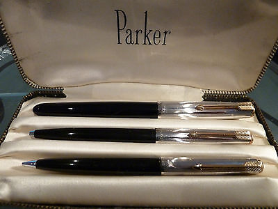 Rare Nr Mint Parker 51 Trio With Rolled Silver Caps
