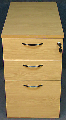 Light Oak Effect Low 3 Drawer Office Filing Cabinet / Chest. No 2