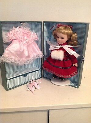 """Vintage 6.5"""" doll with case and clothes -unused"""