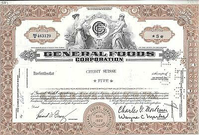 Vintage Share Certificate - General Foods Corp - Nice For Framing