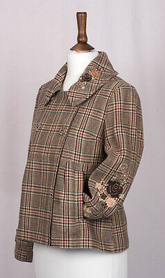 NEXT checked embroidered jacket age 11-12 years WOOL RICH.