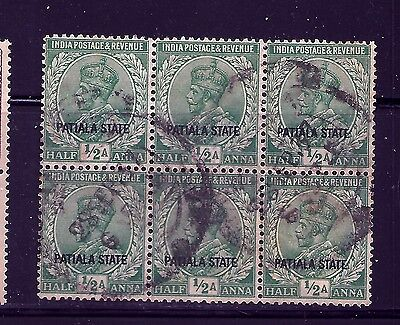 1928-34 PATIALA STATE, SG64 fine used  1/2 ANNA, KGV,BLOCK OF 6,INDIAN STATES