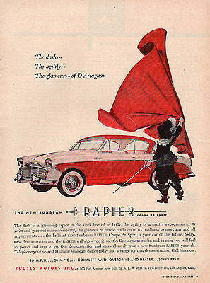 "Vintage Original 1956 Sunbeam Rapier Coupe Magazine Advertisement 8"" X ~11"""