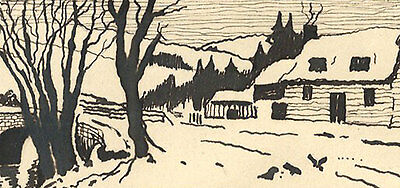 W.L. Coath - 1915 Pen and Ink Drawing, Snowy Landscape
