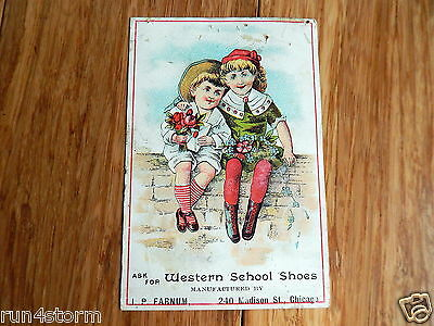 "1880s Western School Shoes KIDS Advertising 2 7/8"" x 4 1/4"" Victorian Trade Card"