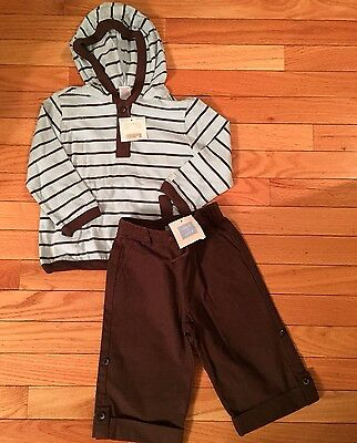 NWT.  Janie and Jack toddler boy hooded shirt and pants.  Size 18-24 months.