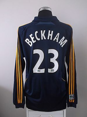 David BECKHAM #23 LA Galaxy Long Sleeve Away Football Shirt Jersey 2008 (XL)