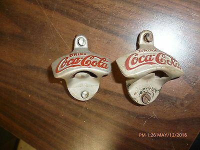 Lot of 2 Vintage Drink Coca-Cola Starr X Wall Mount Bottle Openers Cast Iron