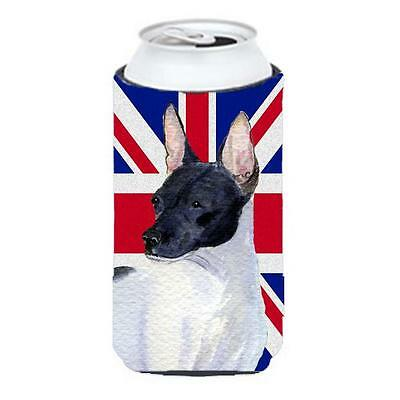 Rat Terrier With English Union Jack British Flag Tall Boy bottle sleeve Hugge...