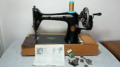 Heavy Duty Singer 66K Manual / Hand crank Sewing Machine,sews Leather, Serviced