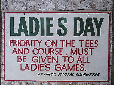 Vintage Golf Sign Ladies Day golfing old sporting notice club house green course