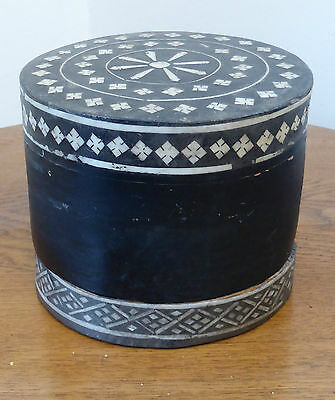 Old Thailand South East Asia Eastern Surin Betel Lacquer Box - Inlaid Lid & Base
