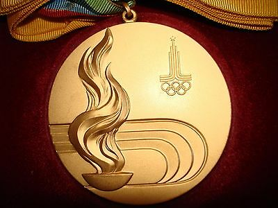 Moscow 1980 Olympic 'Gold' Medal with Ribbons !!!