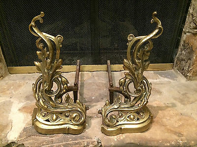 Antique 19Th Century Bronze Brass Fireplace Flowers Andirons Chenets French