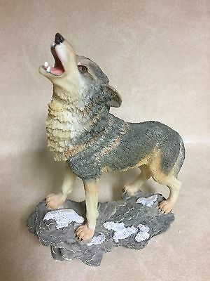 Howling Gray Wolf on Rock Figurine  Detailed Resin (See Photos)