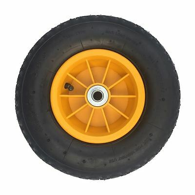 "12"" Yellow Pneumatic Wheelbarrow Sack Truck Trolley Wheel  4.00-6 +20Mm Bearings"