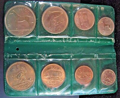 1959-65 Ireland 8 Coin Mixed Date Unc. Set in Green Wallet * FREE U.S. SHIPPING