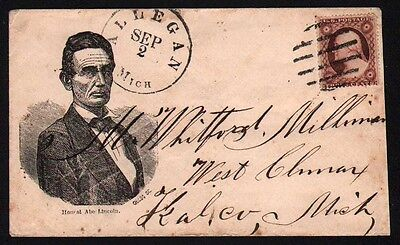 c 1860 Abraham Lincoln Patriotic Cover Civil War Allegan to West Climax Michigan