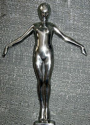 """Frankart nymph w/arms out lamp art deco figurine 8"""" tall sanded dull alumin USA"""