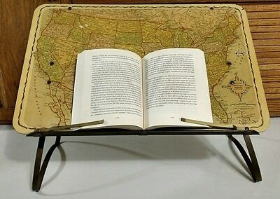 Vintage Replogle Globes USA Maps Folding Reading Stand Table Book Display