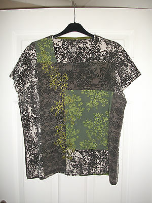 ladies grey/green floral top size 18