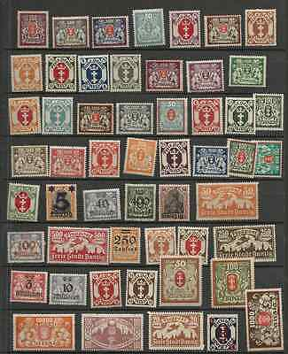 Germany danzig lot of 53 infla stamps mint hinged x